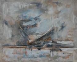Winter Lake, oil & acrylic on canvas